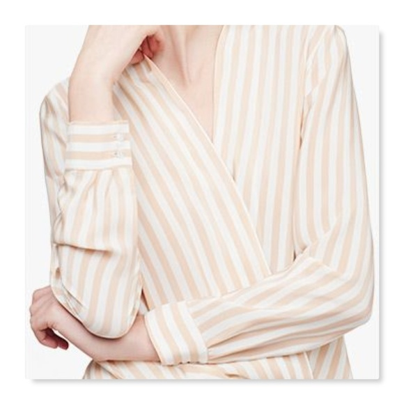 9e2804fe286ce Cuyana Tops - Cuyana Silk Wrap Blouse striped nude white shirt